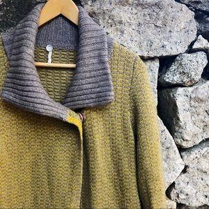 Margaret O'Leary | Yellow Grey Knit Cozy Cardigan